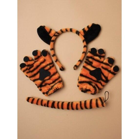 kids children fancy dress costume accessory TIGER EARS HEADBAND TAIL SET