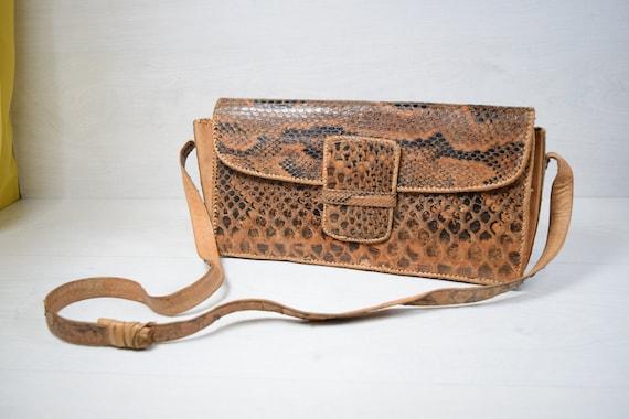 Vintage Genuine Handmade Leather Snakeskin Womens