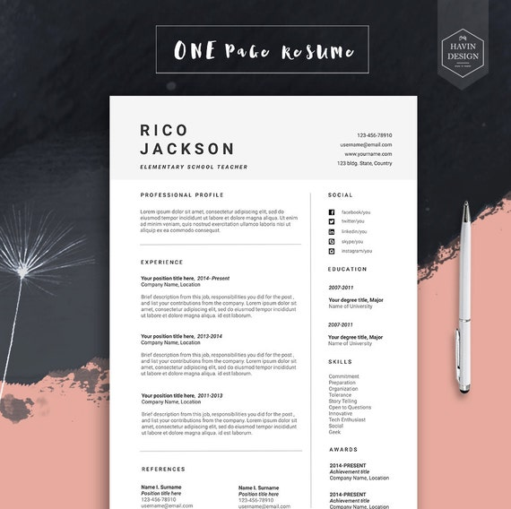 Resume Template For Ms Word Cv Template With Free Cover Etsy