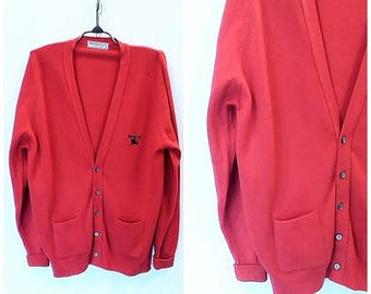 BURBERRYS Sweater Man// Vintage 1980s. wool, lambswool// Red, Label Size 44