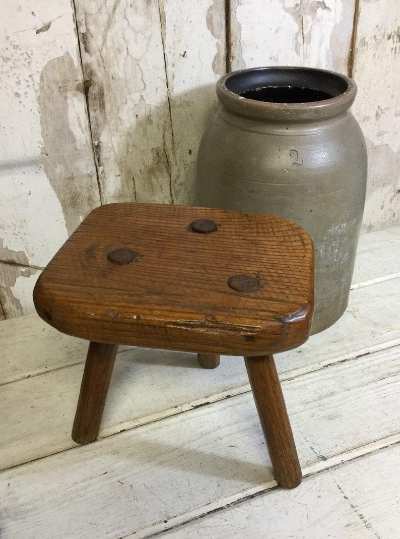Vintage Primitive Wooden 3 Legged Stool Farmhouse Decor