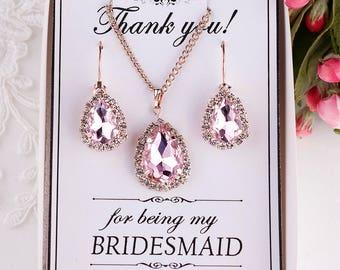 Blush earrings Blush Bridesmaid Earrings Bridesmaid gift Blush bridal jewelry set Blush pink earrings Crystal Earrings with Bridesmaid card