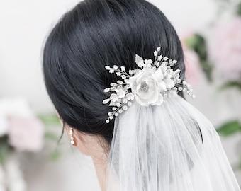 d3804c83f255 White Bridal hair Flower Ivory Hair Flowers Wedding Floral hair comb White Bridal  Hair Clip Ivory Bridal Flower Comb Silk Flower hair piece