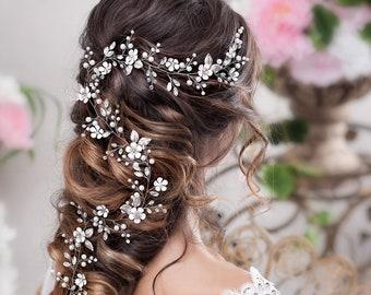 Bridal hair vine Long hair vine Wedding hair vine Flower hair vine Wedding headpiece Pearl hair vine Bridal hairpiece Crystal hair vine
