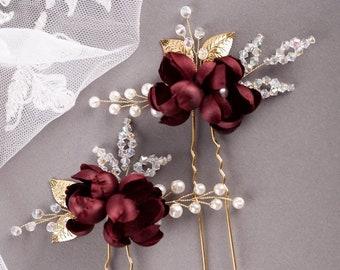 Set of3 Beige flower hair pins Bridal hair clip Wedding pins Fall deep red hair pins Burgundy Flower Bobby pins Marsala hair Pins 1271