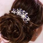 Blue bridal hair comb Something blue hair comb Sapphire blue Crystal hair comb Royal blue wedding Rhinestone hair comb Navy blue hair piece