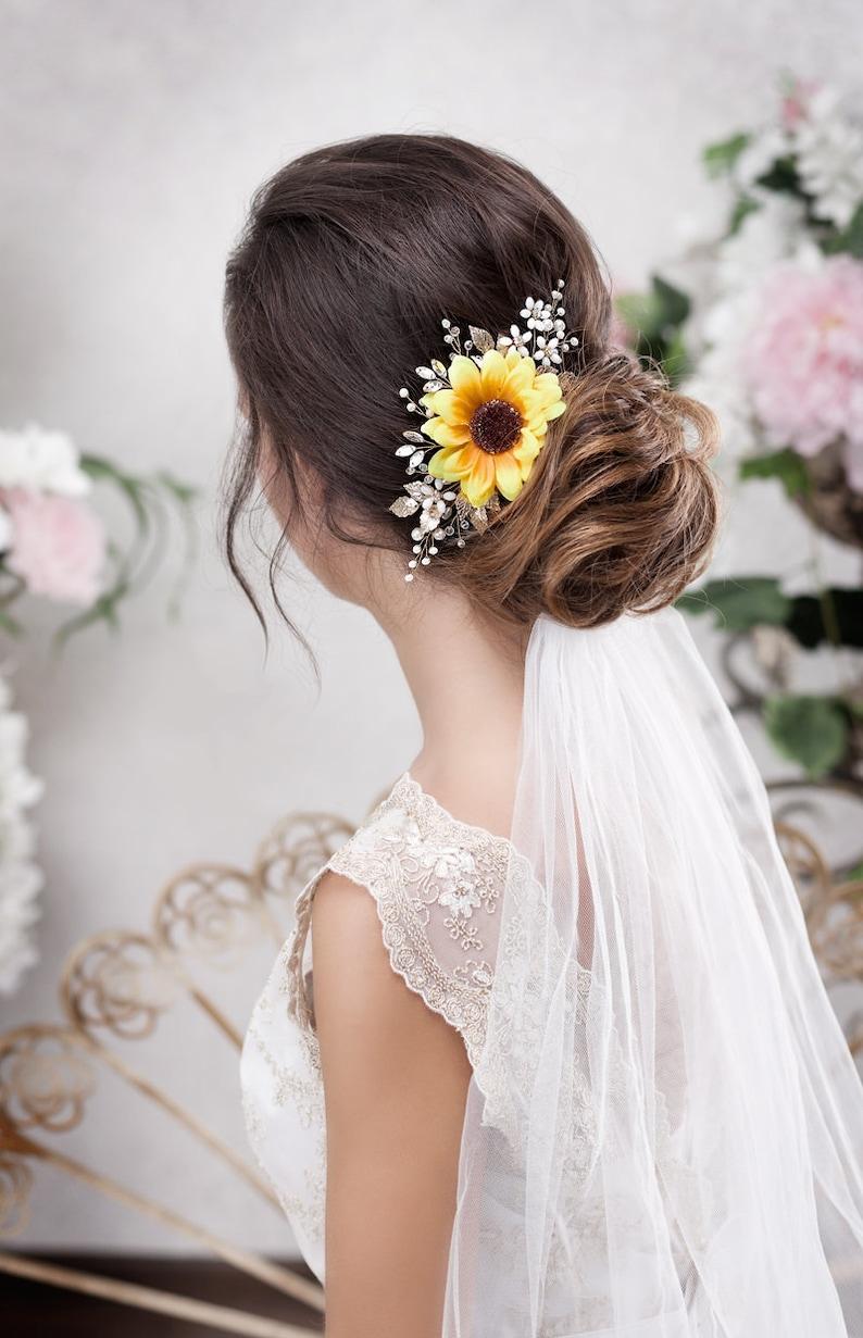 Sunflower hair accessory Sunflower hair piece Sunflower image 1