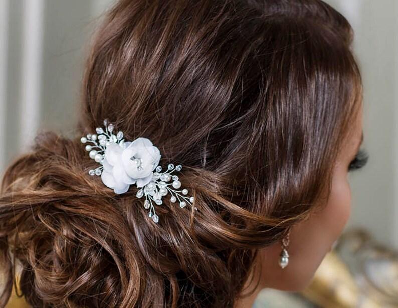 Bridal hair clip Bridal hair flower Wedding hair Flower hair image 0