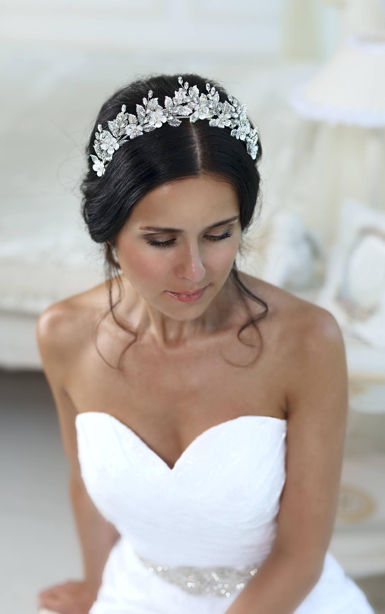 Halskette und Ohrringe Strass Diadem fuer Braut Hochzeit S5U1