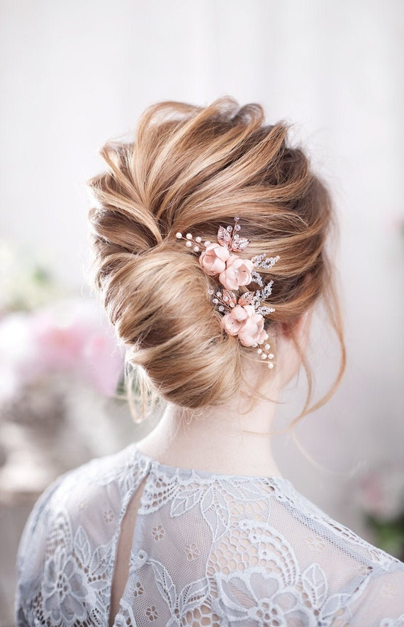 Rose Gold Wedding Hair Pins Blush Bridal Hairpins Blush Wedding Hair Piece Pink Bridal Hairpiece Blush Hair Flower Bridal Headpiece Pink Pin