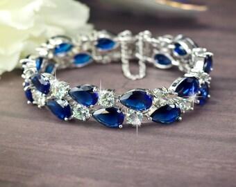 blue bridal bracelet sapphire Blue bracelet cubic zirconia bracelet Wedding bracelet Navy blue bracelet crystal bracelet Something blue