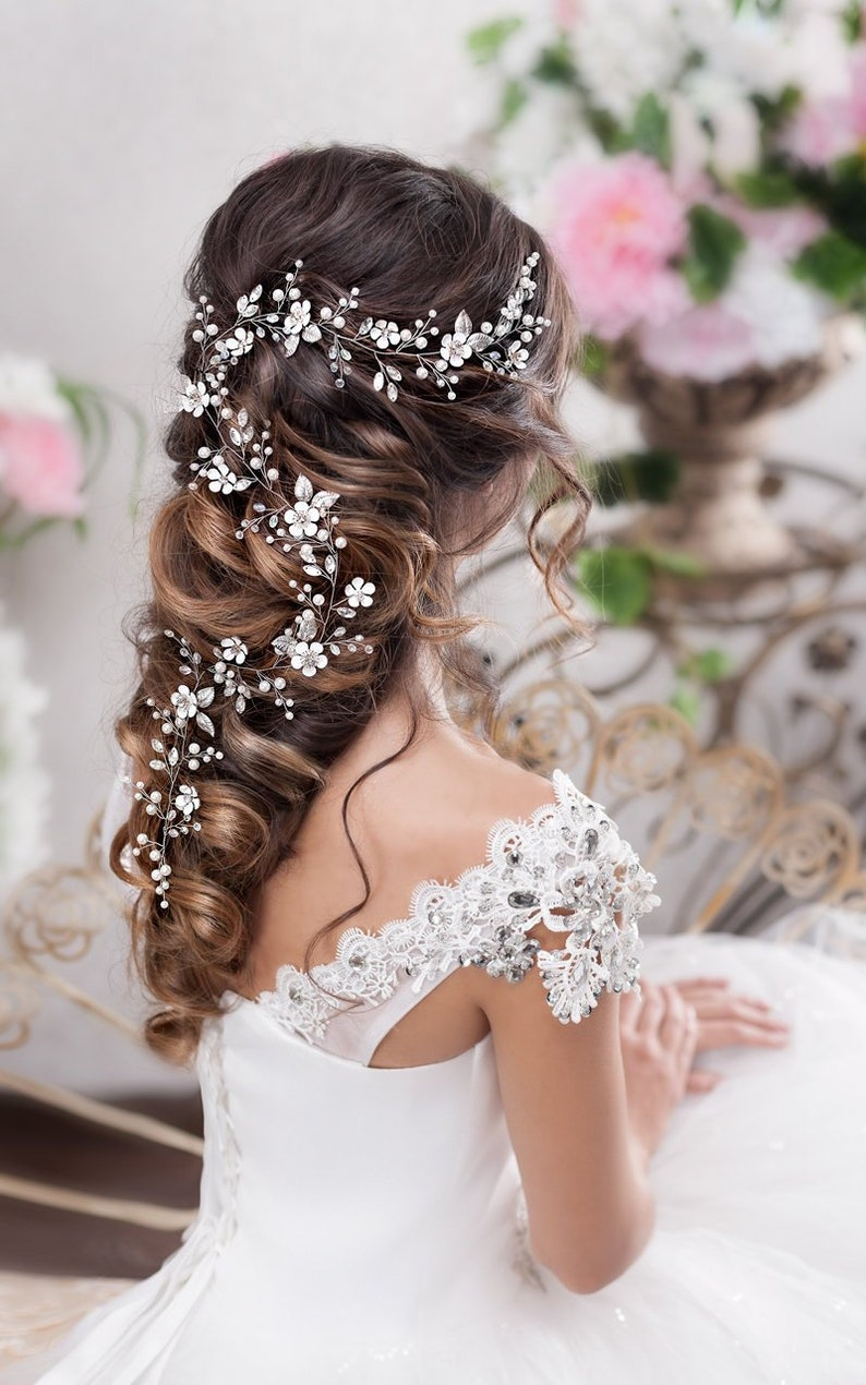 Bridal hair vine Long hair vine Wedding hair vine Flower hair image 0