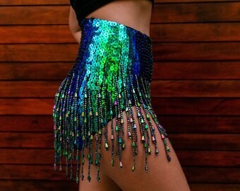 168c002c8 Mermaid Metallic High Rise Sequin Dance Pants, Sequin Embroidery Festival Fringe  Pants, Rave Sequin High Waist Hot Pants with Beaded Tassels