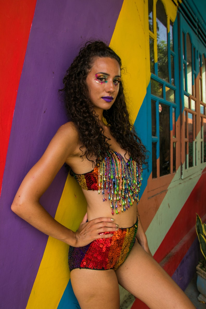 cf3b103627b72d Rainbow Bra Top Pole Dance Wear Pole Wear Belly Dance Wear