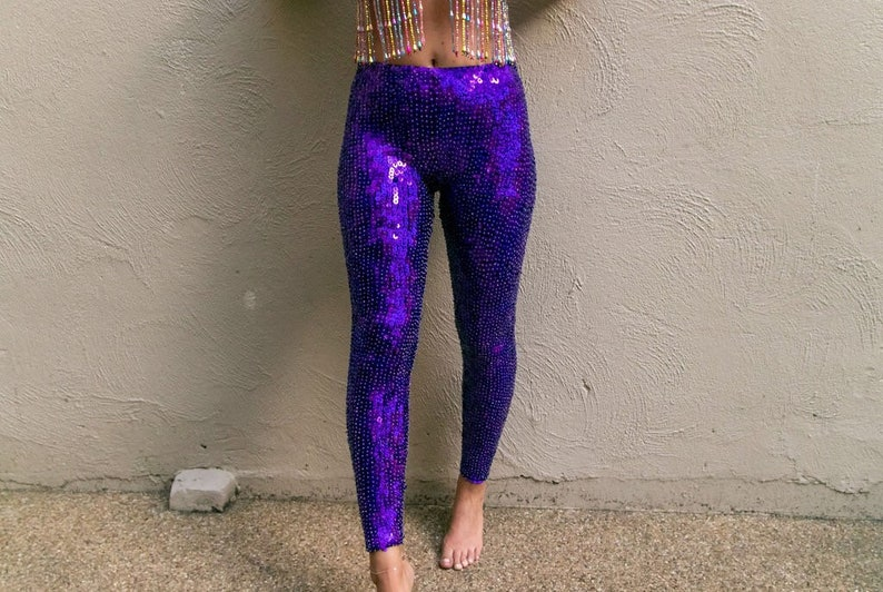 Purple Rain Sequin Leggings perfect for festival outfit and rave wear Pole Dance wear and circus costume handmade sustainable fashion