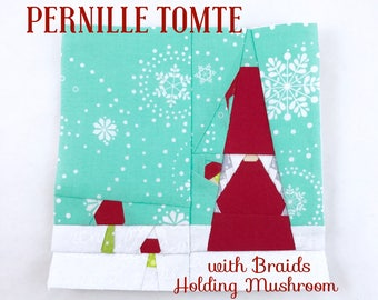 PERNILLE / GUNDA Tomte with Mushrooms & Mini Charms Quilt Block // Foundational Paper Piecing // PDF