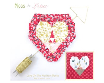 "Love On The Horizon Quilt Blocks (fits 6""x6"" and 2""x2"" mini charm blocks in center - sold separate) // Foundational Piecing // PDF"
