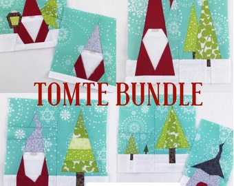 "TOMTE BUNDLE // pdf Pattern // Nes Halvor Peder House Tree + FREE Tiny Tomte 2"" mini charm block // Paper Piecing"