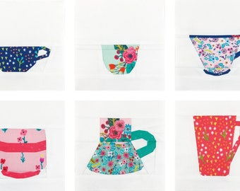 The Mug Club Series Part 2 // PDF Pattern // Paper Piecing // 6 Mugs + free Teapot, Cookie Jar, Sugar Bowl)