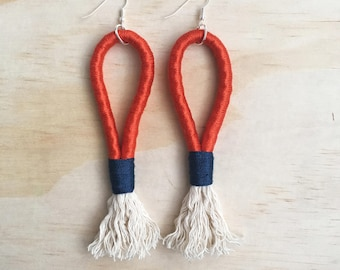 "Handmade statement rope dangle earrings // gifts for her // ""Red runner"""