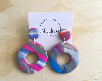 "Handmade statement dangle earrings // gifts for her // ""Colour pop"""