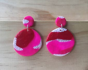 """Handmade statement dangle earrings // gifts for her // """"Hearts on Fire"""""""