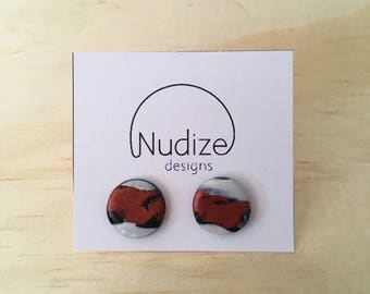 "Handmade statement stud earrings // gifts for her // ""Copper run"""