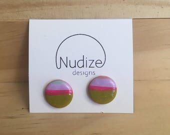 "Handmade statement stud earrings // gifts for her // ""Melon"""