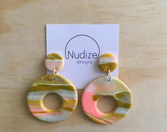 """Handmade statement dangle earrings // gifts for her // """"Spring"""""""