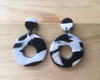 """Handmade statement dangle earrings // gifts for her // """"Monochrome Madness"""""""