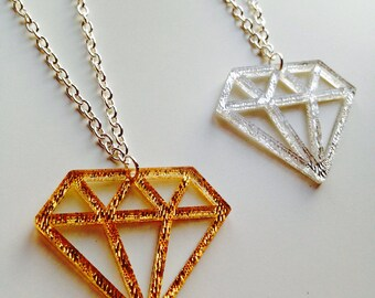 Sale | Diamond | Old School | Tattoo | Mirrored | Textured | Gold | Silver | Laser Cut | Acrylic | Necklace