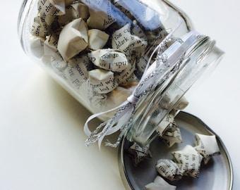 Origami | Lucky Star | Book | Retro | Monochrome | Jar | Gift | Wedding | Home
