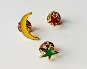 Moon | Stars | Space | Cute | Pin | Badge | Retro | Hipster | Upcycle | Accesory | Modify
