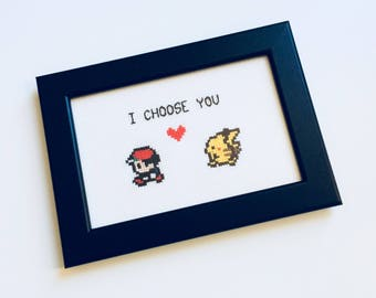 Pokemon | I Choose You | Pokemon Go | Pikachu | Cute | Anniversary | Gift | Framed | Cross Stitch | Completed | Home