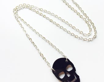 Skull | Halloween | Horror | Skeleton | Emo | Black | Laser Cut | Acrylic | Necklace