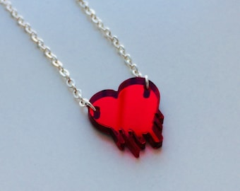 Heart | Love | Heart | Dripping | Emo | Red Mirrored | Laser Cut | Acrylic | Necklace