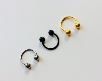 Circular Barbell | Horseshoe | Horse Shoe | Black | Silver | Gold | Septum | Ear | Piercing | Body Jewellery