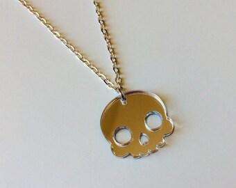 Skull | Halloween | Horror | Skeleton | Emo | White | Laser Cut | Acrylic | Necklace