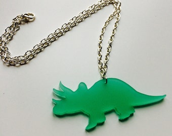 Sale | Triceratops | Dinosaur | Jurassic World | Frosted | Cute | Laser Cut | Acrylic | Necklace