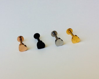 Tragus | Ear | Lip | Heart | Straight Bar | Piercing | Body Jewellery