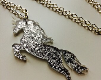 Sale | Unicorn | Horse | Equestrian | My Little Pony | Mirror | Laser Cut | Acrylic | Necklace