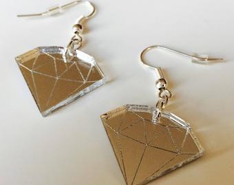 Diamond | Geometric | Emo | Tattoo  | Mirrored | Silver | Laser Cut | Acrylic | Earrings