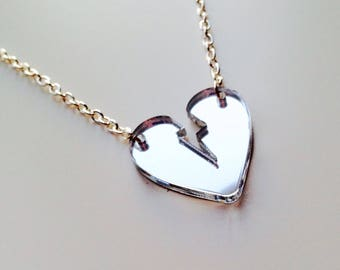 Broken Heart | Love | Heart | Emo | Silver Mirrored | Laser Cut | Acrylic | Necklace