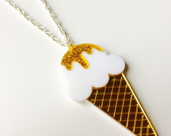 Ice Cream | Cone | Hot | Retro | Ice | Summer | Double Layer | Laser Cut | Acrylic | Necklace