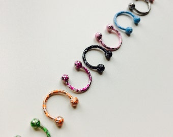 Circular Barbell | Horseshoe | Horse Shoe | Paint Splatter | Multi Coloured | Septum | Ear | Piercing | Body Jewellery