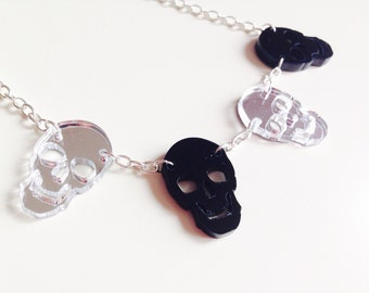 Sale | Skull | Halloween | Mirrored | Silver | Laser Cut | Acrylic | Necklace