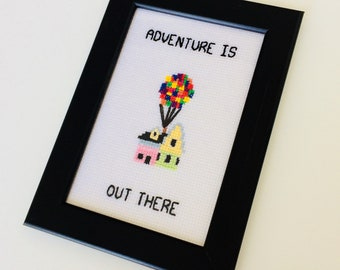 Up! | Adventure Is Out There | Up | Quote | Cute | Gift | Home | Framed | Cross Stitch |