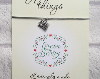 "New York charm String Bracelet on ""Enjoy the little things"" quote card madebygreenberry wish bracelet Big Apple"