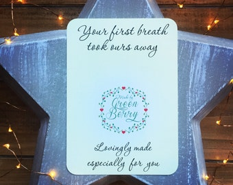 Your first breath took ours away quote card with choice of charm madebygreenberry wish bracelet