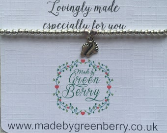 NEW** madebygreenberry Beaded Bracelet complete with baby feet charm - made to order